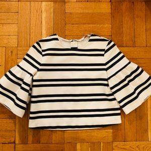 Zara striped bell sleeve top